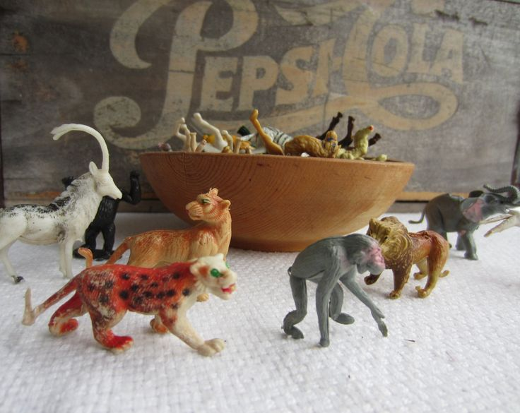 Vintage Zoo Wild Animals Plastic Animals Made in Hong Kong by corrnucopia on Etsy