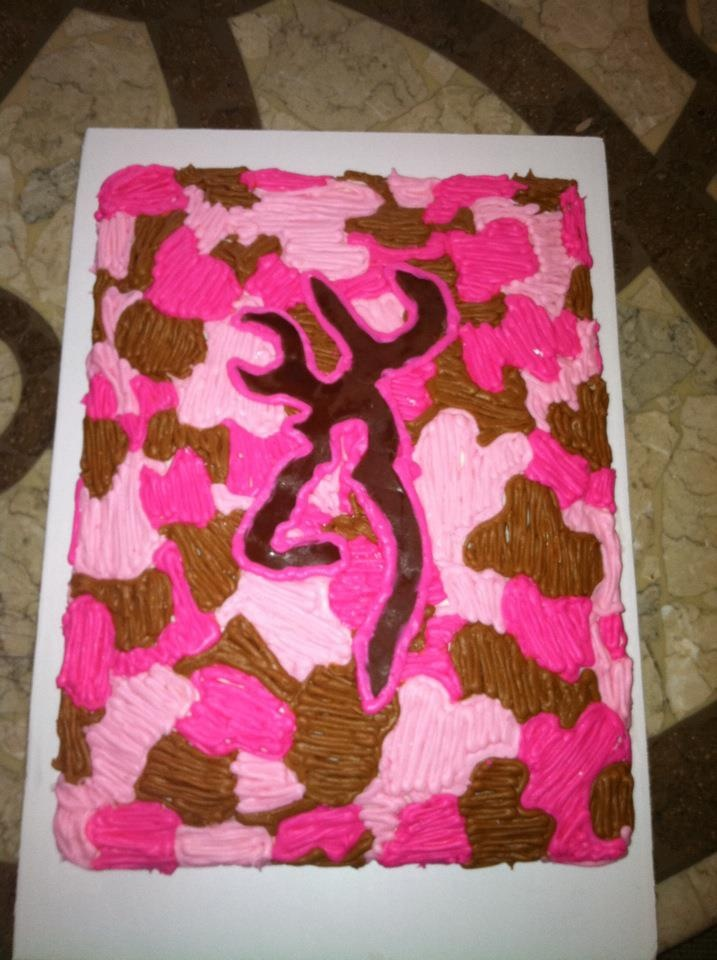 hot pink, light pink and brown camo browning cake