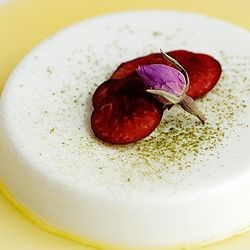 ... flavors: rose green tea-infused panna cotta with passion fruit syrup