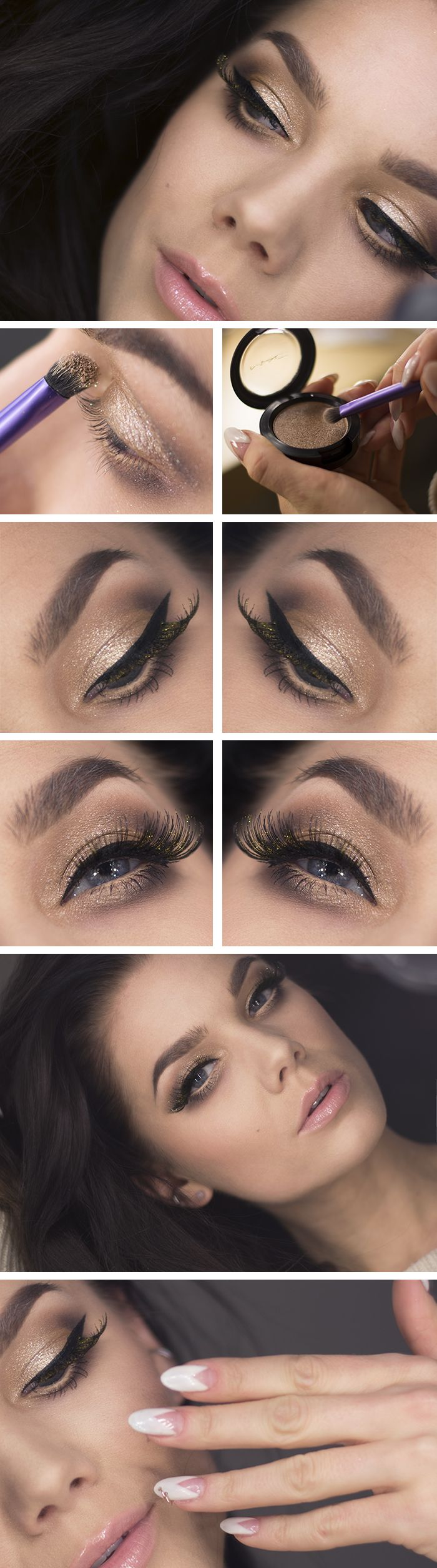Inspiração make by Linda Hallberg (a gorgeous look featuring nudes and golden shimmer, lashes for miles with flecks of gold... Mac Pressed Pigment in Day Gleam)