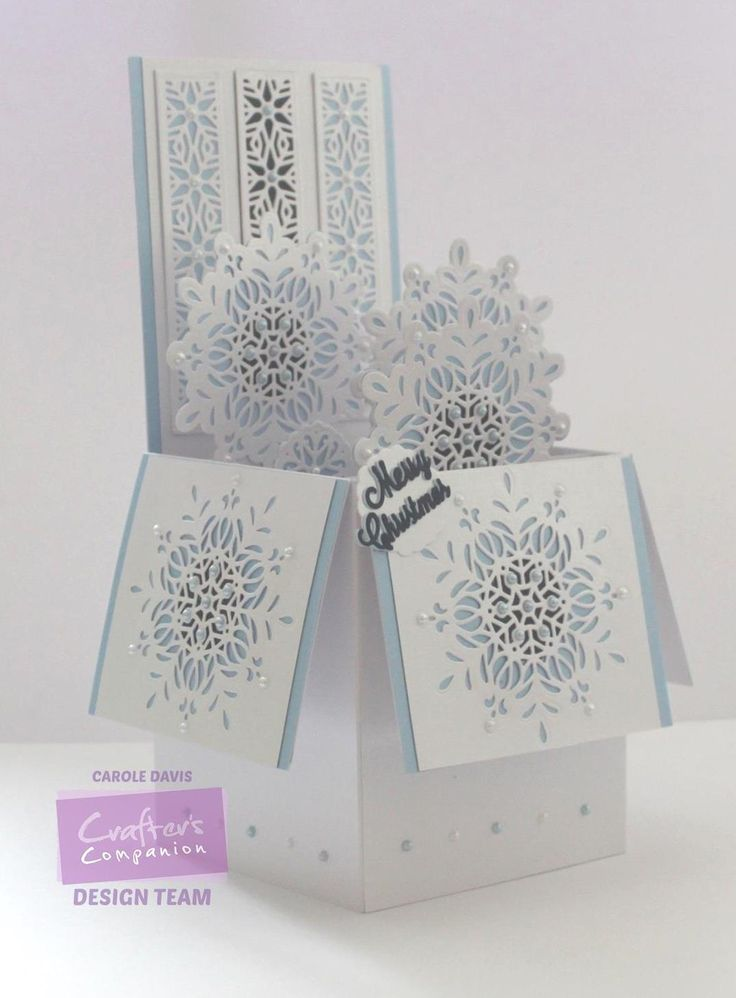 Box Card made using Crafter's Companion Die'sire Christmas Cut In Create-a-Card: Ornate Snowflake. Designed by Carole Davis #crafterscompanion