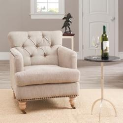 Colin Tufted Club Chair With Casters   Caramel Brown Leather   Safavieh®