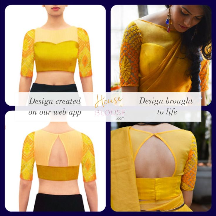 Design to reality- An sunshine yellow embroidered sleeve sheer blouse looks Design you own now on houseofblouse.com #saree #blouse #sareeblouse #blousedesigns #desi #indianfashion #india #sheer #yellow #sexyback