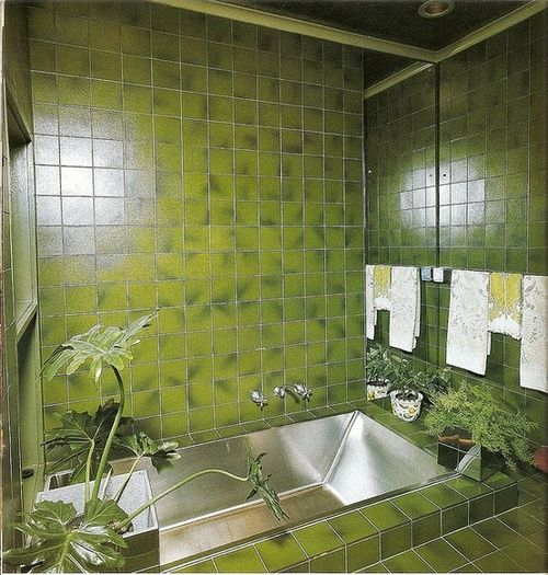 1970s Green Bathroom Design. Groovy.