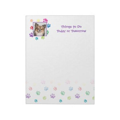 Rainbow Painted Paw Prints with Photo Insert Notepad - photo gifts cyo photos personalize