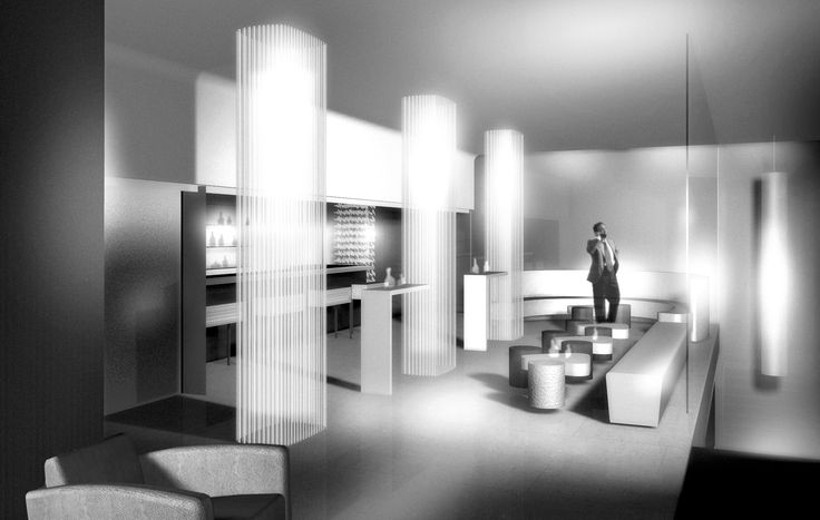 This Render is to shows interior bar side of ''Monginevro Hotel'' for competition in Florence which ''Starhotels'' got the first Prize #1st #Prize #Interior #Light #Columns #Render #Armchair #Barstools #Couch #Round #Table #Bar #Hotel #Lights #Architecture #Desing #Render #3D #Carpet #Gray #White #Black #ClaudioNardi #ClaudioNardiArchitects