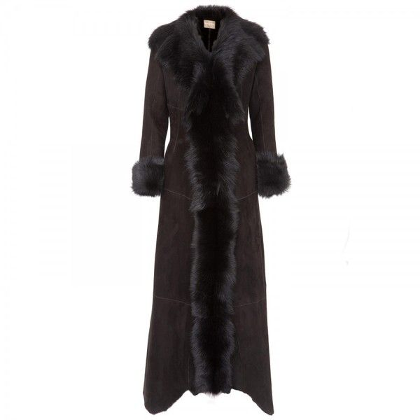 Dom & Ruby Full length shearling coat ($2,165) ❤ liked on Polyvore featuring outerwear, coats, jackets, black, women, sheep fur coat, shearling lined coat, shawl collar coat, long sleeve coat and full length shearling coat