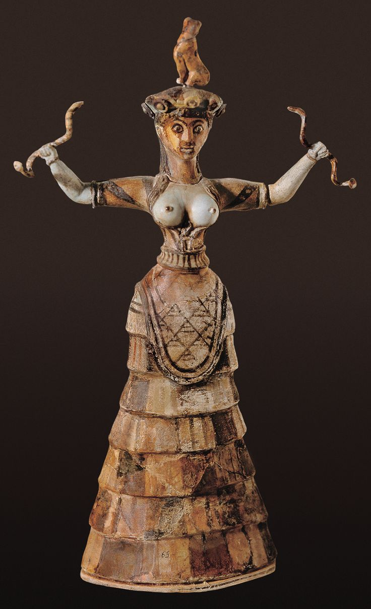 Snake goddess, faience. Palace of Knossos. Crete, Greece. c. 1600 B.C. (Middle Minoan) [Heraklion Archaeological Museum]