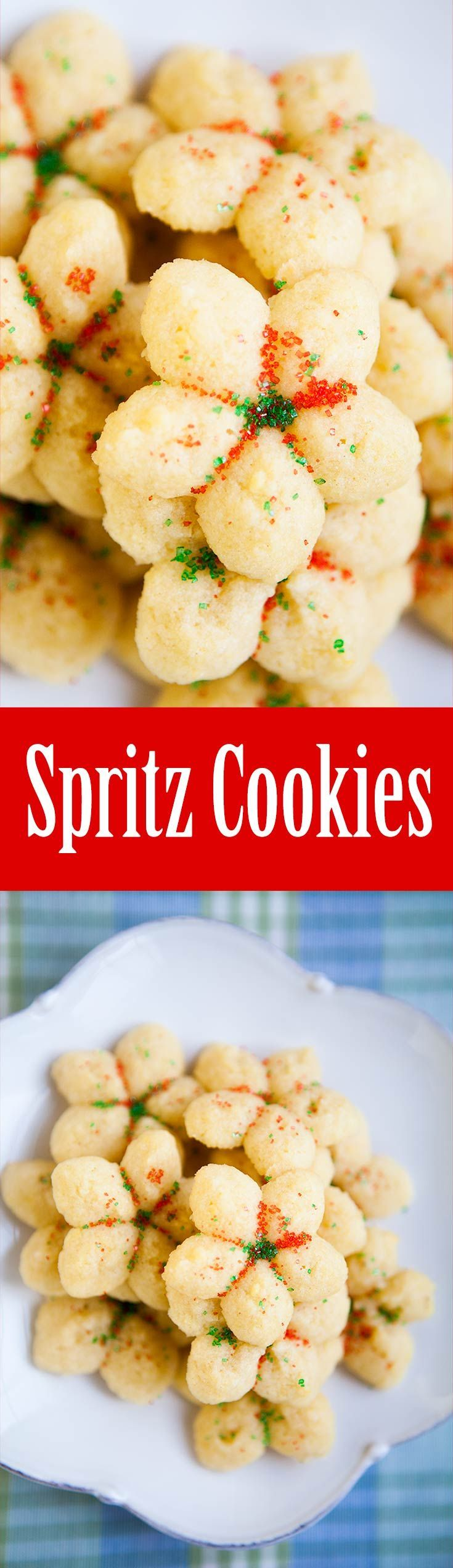 Spritz Cookies ~ A classic Christmas cookie, originated in Germany and Scandinavia. Spritz is a simple butter cookie pressed into festive shapes and topped with all sorts of garnishes. ~ SimplyRecipes.com