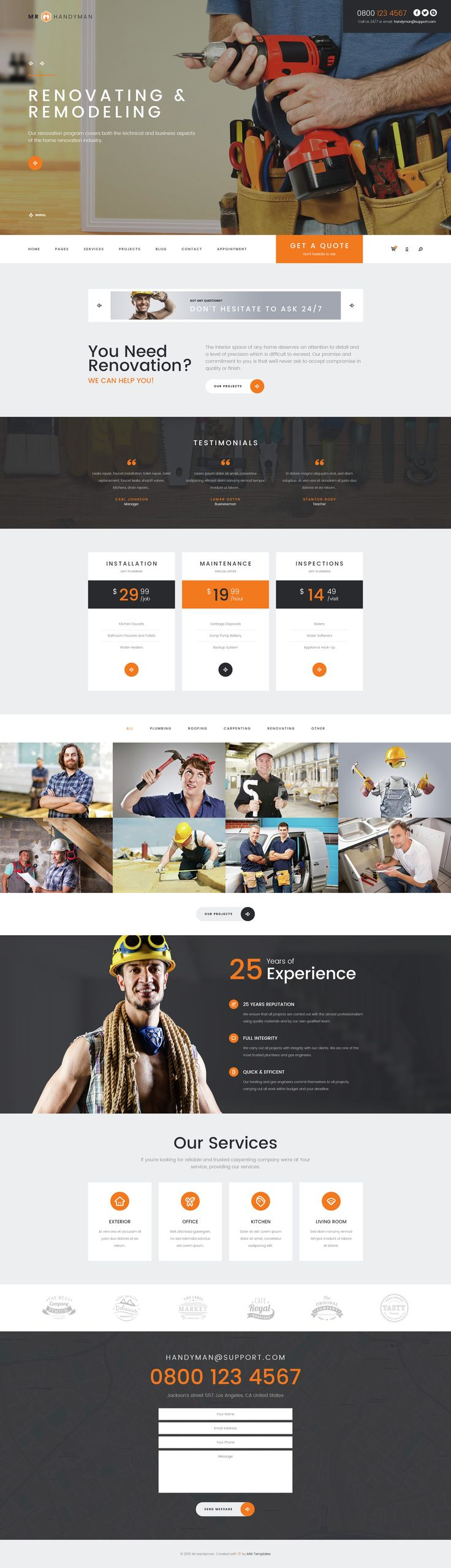 Mr. Handyman WordPress theme is a well-designed, unique and stylish theme for a handyman, plumber, electrician, contractor or any other business related to home maintenance, renovation, construction and repair works.