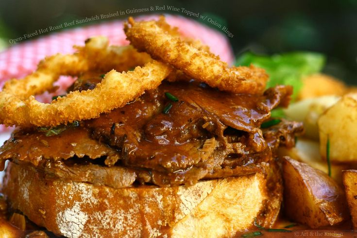 Open-Faced Hot Roast Beef Sandwich Braised in Guinness and Red Wine ...