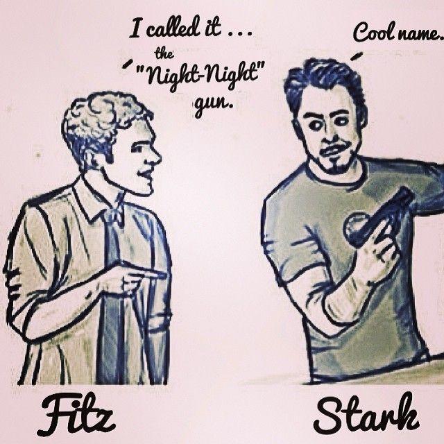 """Marvel Agents of S.H.I.E.L.D.'s Fitz, Iron Man/Tony Stark, and the """"Night Night Gun"""" haha"""