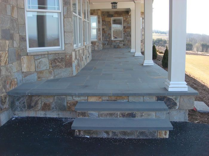 blue stone bluestone patio and steps front porch