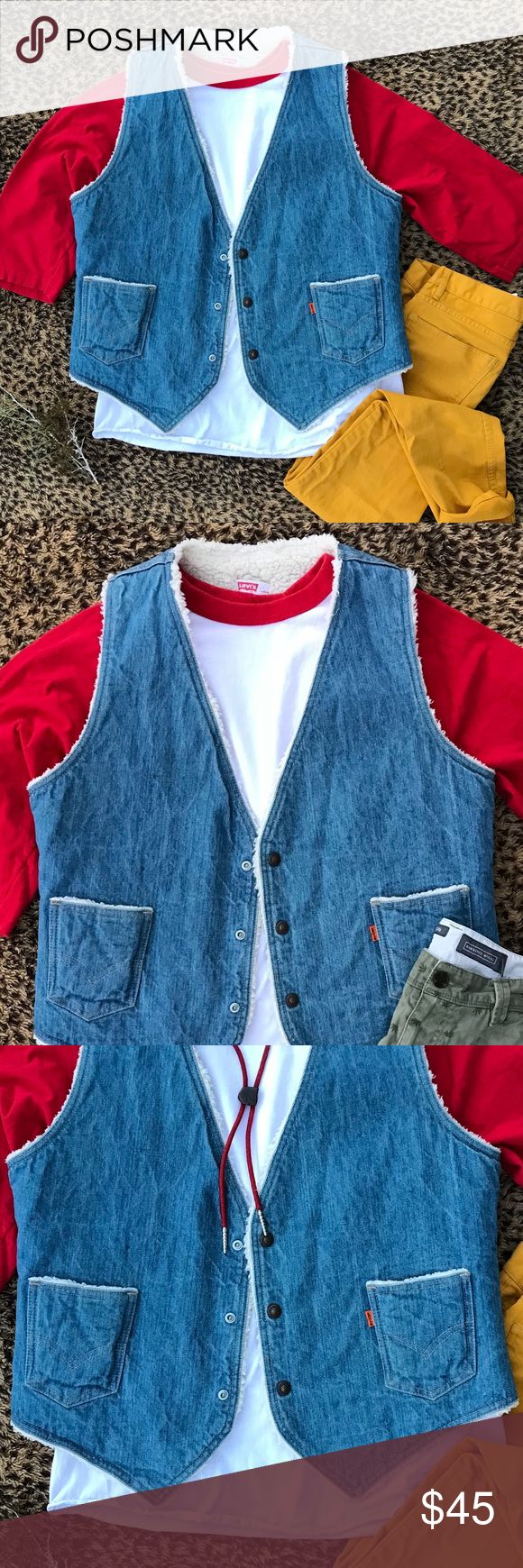 "[vintage] Levi vest vintage levi denim vest with faux shearling. two front pockets and snap closure. length: 25"" in mint vintage condition, no damage. Vintage Jackets & Coats Vests"