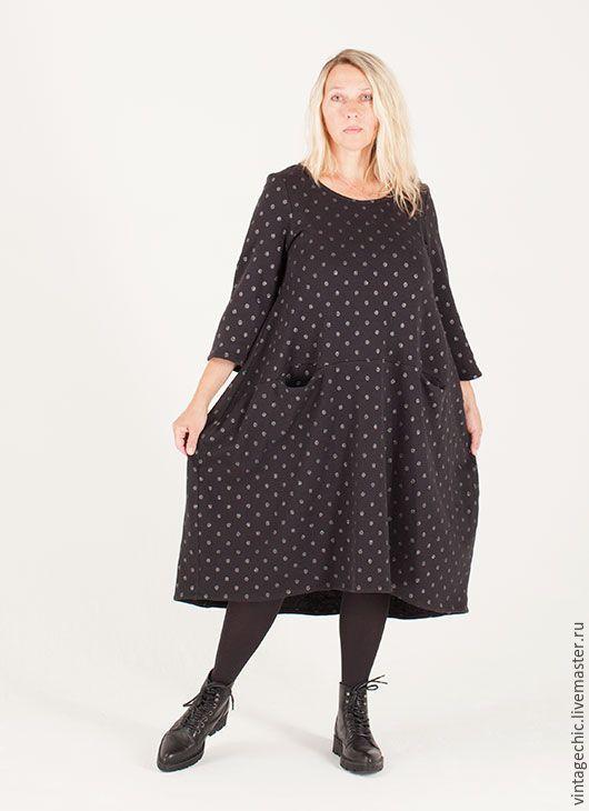 Купить Платье сезона в горошек art.132c - черный, платье, повседневное платье, хлопок, трикотаж