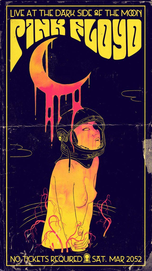 Poster de show imaginário do Pink Floyd // Imaginary Pink Floyd gig poster. From http://www.mathiole.com