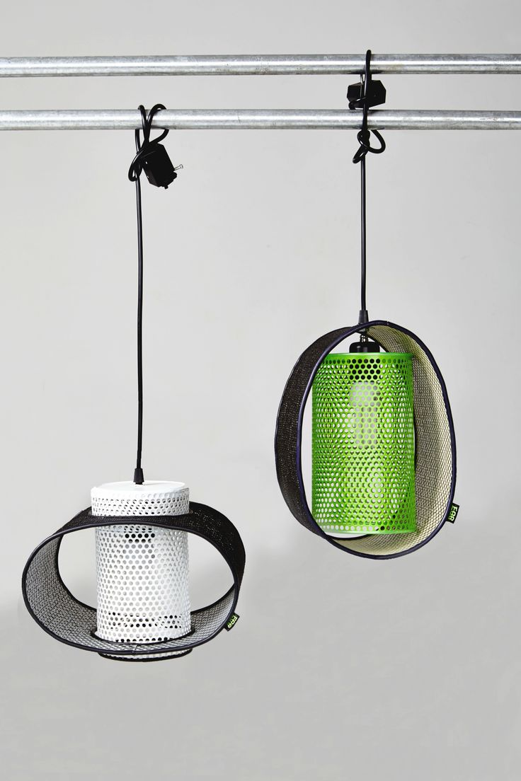 """Designed by Hari Kim Sangmyung University Industrial Design Graduation Exhibition 2013  Up- cycled design lamp,  """"The EGG""""  all discarded materials are used (car air cleaner, polyethylene net, jump rope)"""