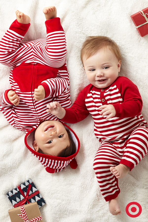 It's Baby's first Christmas. Choose a sweet velvet 2-pc. set for her or adorable coveralls for him. Featuring festive red and white stripes, they're super cozy for lounging and snuggling on Christmas morning.