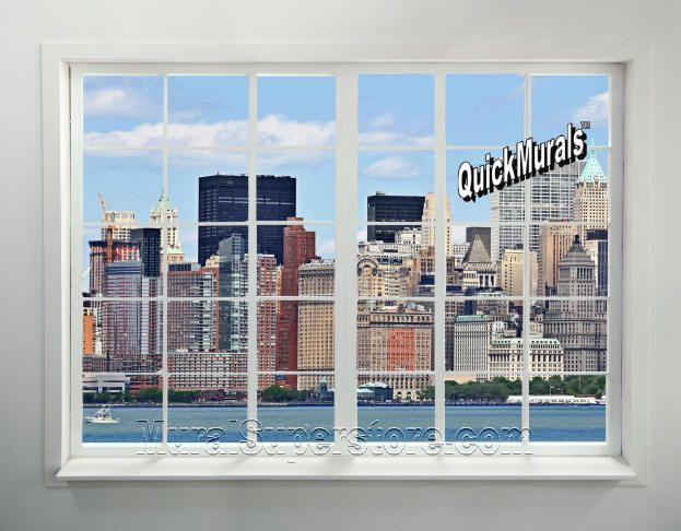 New york city skyline window peel stick mural accent for City skyline wall mural