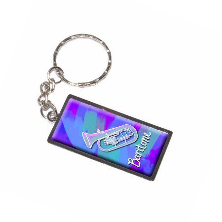 Baritone Musical Instrument Music Brass Band Blue And Purple Keychain Key Chain Ring, Silver