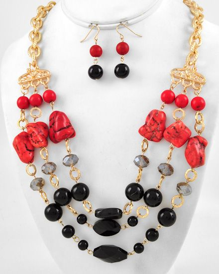 Gold Tone / Red Stone & Black Glass / Lead&nickel Compliant / Multi Row / Necklace & Fish Hook Earring Set