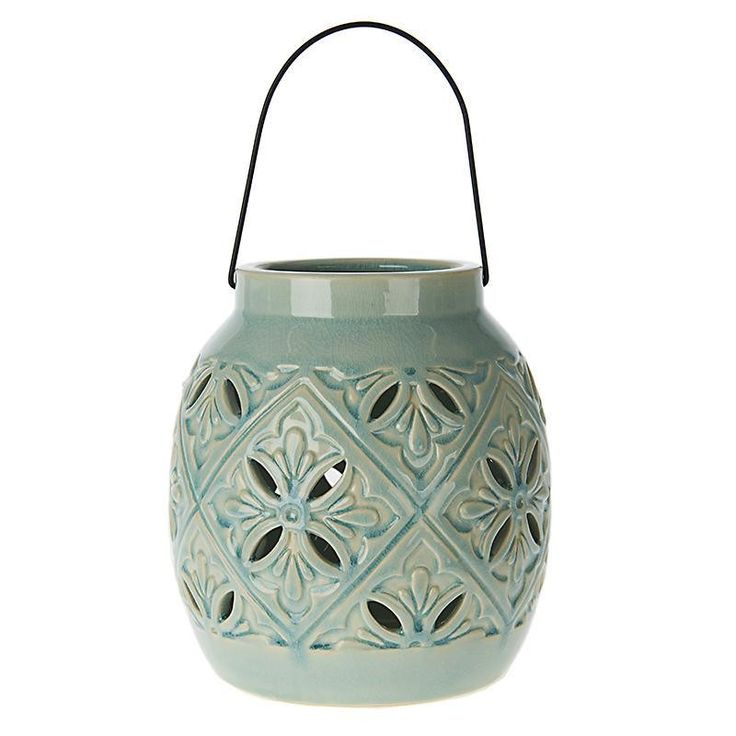 CERAMIC LANTERN IN GREEN COLOR 16X16X18 - Lanterns - DECORATIONS