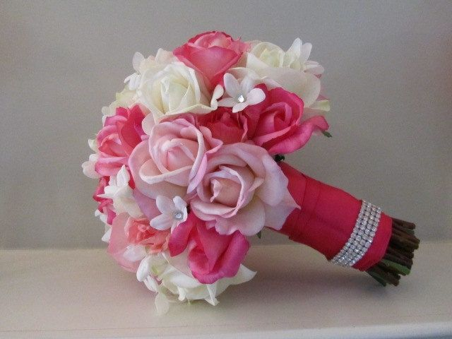hot pink wedding bouquets | Real Touch Bridal Bouquet - Hot Pink, Soft Pink and White Roses and ...