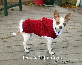 Doggie hoodie sweater crochet pattern in 2 sizes.  So ADORABLE!