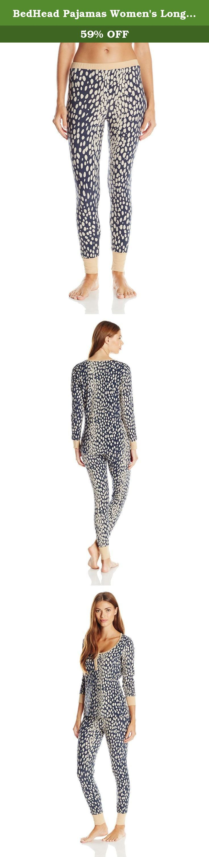 BedHead Pajamas Women's Long Sleeve Henley Set Made in USA, Charcoal Lynx, X-Small. BedHead Pajamas women's long sleeve henley pajama set made in USA.