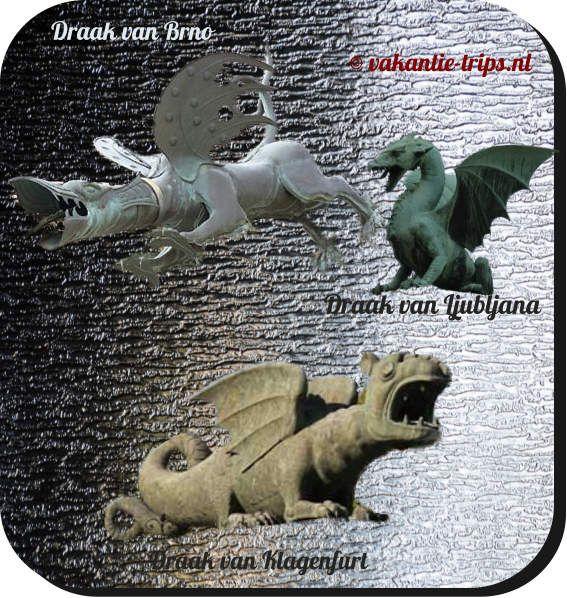 Draken van Brno in Moravisch Tsjechië, Ljubljana in Slovenië, Klagenfurt in Oostenrijk, vaak verkeerd begrepen. Soms verwijzend naar sint Joris (George) en diens draak. Qua Brno heeft men een krokodil erbij geschoven, wel 3 eeuwen later. Vermoedelijk allemaal terug te voeren op de aloude slang van het kwaad, toen nog mèt poten en vleugels.