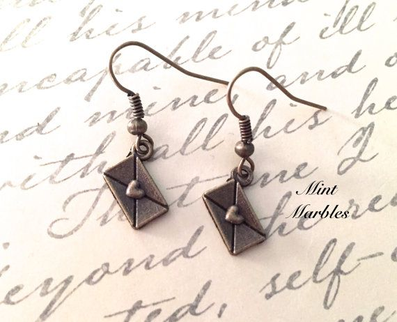 Teeny Love Note Dangle Earrings. Heart Envelopes. by MintMarbles