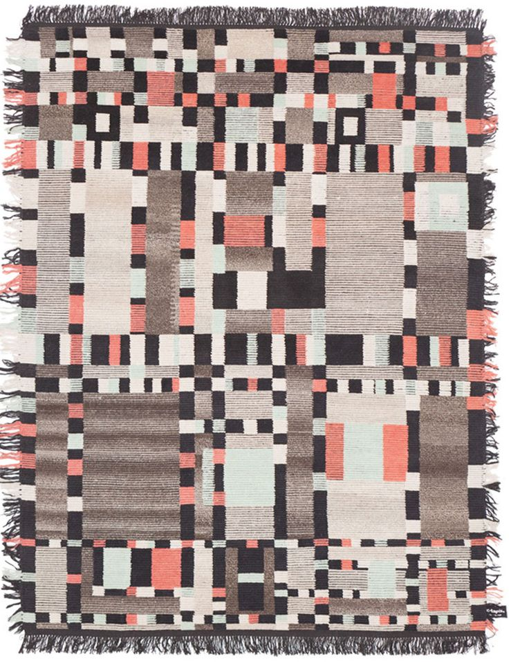 """""""Berber TV"""" from cc-tapis' Oldie collection in undyed Himalayan wool - just love it, Anni Albers meets the television test pattern."""