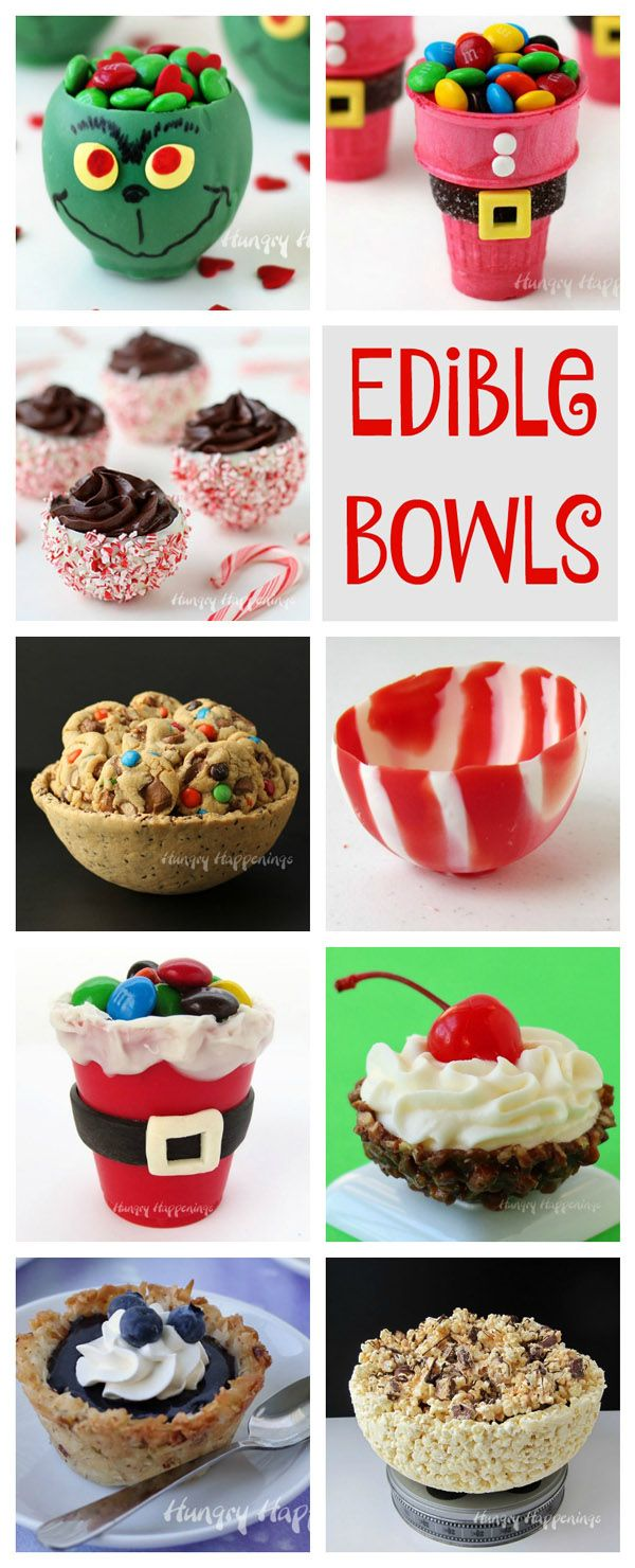 Edible Bowls can be made out of chocolate, candy, popcorn, cookies, nuts, and more. See the tutorials to make all these fun bowls at HungryHappenings.com.