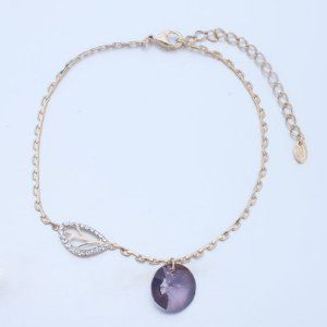 Pugster Golden Chain Leaf Clear Swarovski Crystal February Birthstone Purple Crysal Round Ankle Bracelet Anklet Lobster Clasp Pugster. $15.99. Money-back Satisfaction Guarantee. Made with Swarovski Elements. The perfect accessory for evening or day wear. 9 Inch to 10 inch Length Adjustable Anklet. Free Gift Box