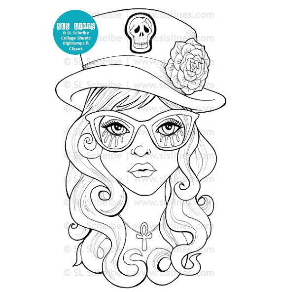 A fun goth girl digital stamp with a funky skeleton top hat! This cute goth digistamp is available as an instant download for your coloring fun. Shes