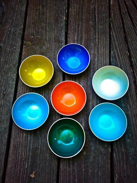 Emalox Norway set of 7 small bowls multiple colors atomic mid century modern