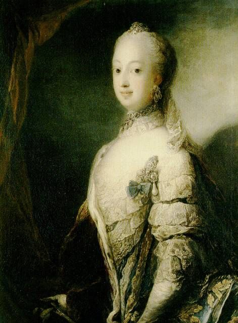 Queen Sophie-Magdalene of Sweden, née Denmark poses in French style court dress with panniers stretching towards the viewer of this 1765 Pilo portrait. (Nationalmuseum, Stockholm)