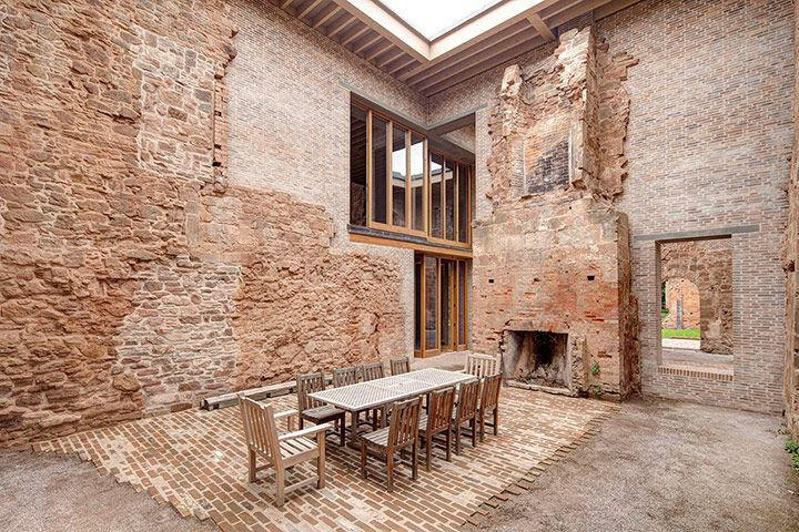Astley Castle Renovation, Warwickshire, 2012 - Witherford Watson Mann.  Great Hall, open to the elements.