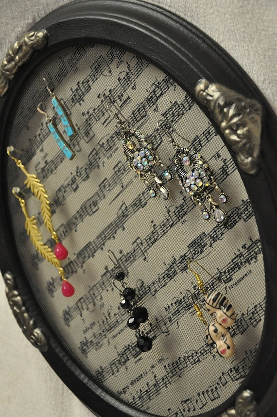 Musical Score Decorative Oval Picture Frame Earring Holder Jewelry Organizer Upcycled Green - SOLD