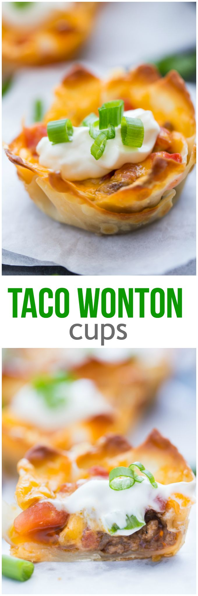 Taco Wonton Cups - Make this yummy appetizer in a muffin tin with wonton wrappers! Top the seasoned taco beef with your favourite fresh toppings and melted cheese and watch these crispy treats disappear in a flash.