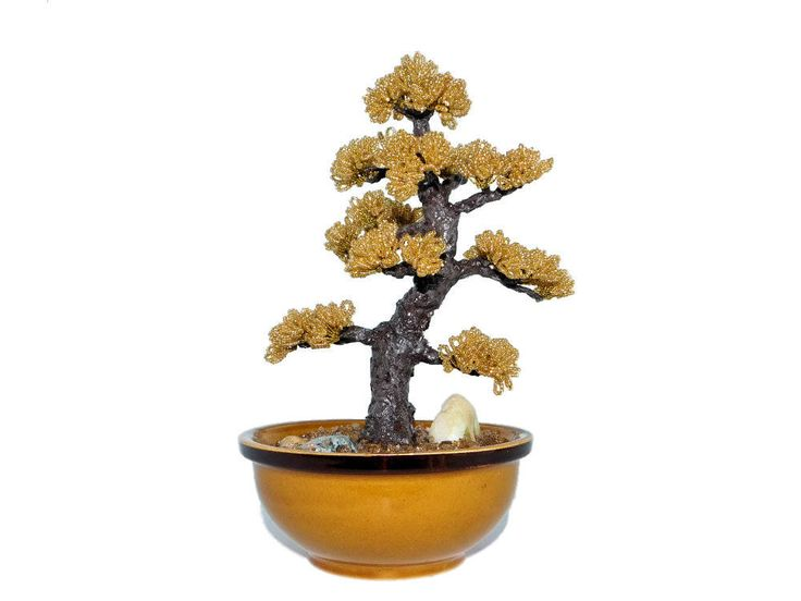24cm Golden Beaded Pine Bonsai in Brown Ceramic Pot. Oriental Miniature Pine Beaded Tree. Handmade Feng Shui Bonsai. Gift Idea Home Decor by BeadedGardenCanada on Etsy