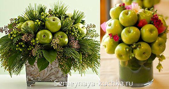 букетные композиции с яблоками