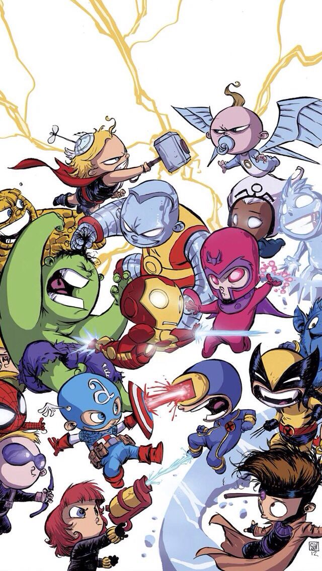 Avengers by Skottie Young  But why are the Avengers fighting the X-Men? Did I miss something?