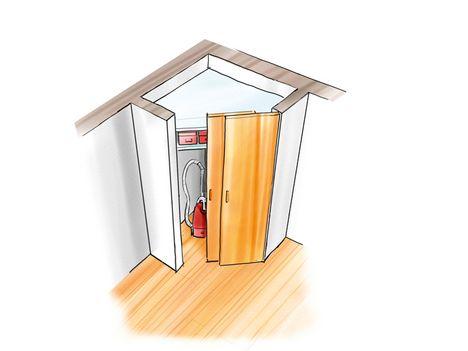 Eck-Besenkammer Ecksituationen (hier mit seitlichen Leichtbauwänden) lassen sich perfekt mit einem Schiebetürsystem lösen. Dazu werden die Boden- und Deckenschienen einfach mit einer Metallsäge und einer Gehrungslade auf Gehrung zugesägt – bei einer 90-Grad-Ecke jeweils auf 45 Grad.