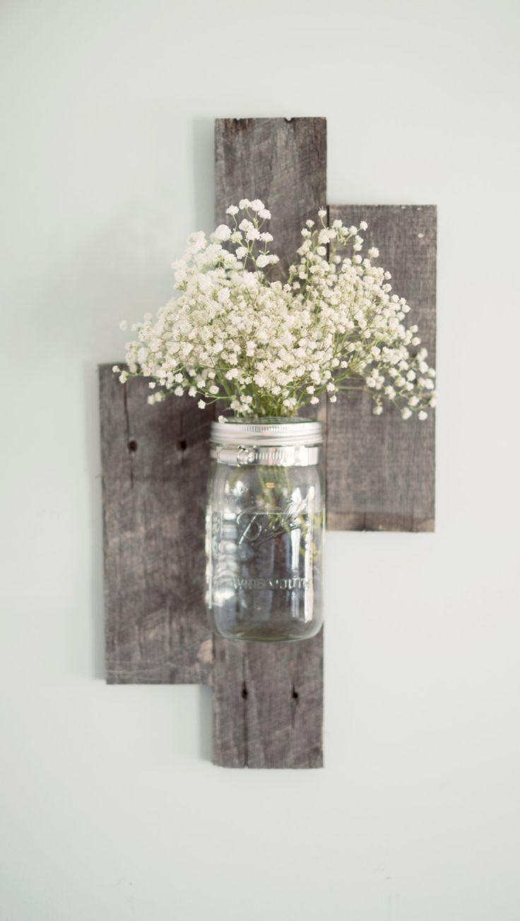 Vase de mur bois Mason Jar Grange recyclée par DesignsbyMJL sur Etsy
