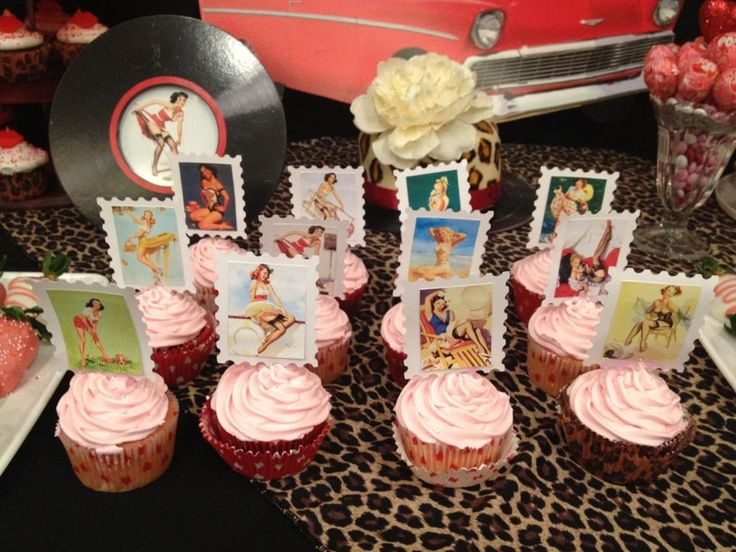 30th birthday pinup/rockabilly cupcakes