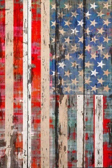 Old Glory Painted On Barn Boards #repurposed_wood #art #for_the_home #rewhiteblue