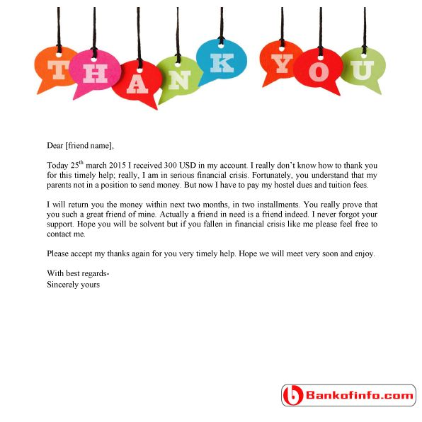 sample thank you letter for financial support