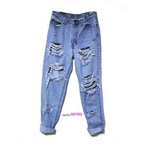 ALL SIZES - Vintage Destroyed High Waisted Grunge Boyfriend Jeans