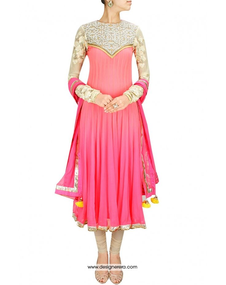 DE Fluorescent Pink and Deep champagne Designer Anarkali suit